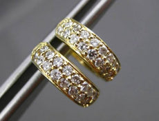 ESTATE WIDE .48CT DIAMOND 14KT YELLOW GOLD DOUBLE ROW HUGGIE EARRINGS #14947