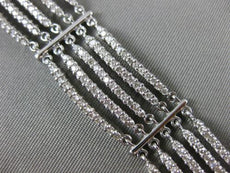 ESTATE WIDE & LONG 5.13CT DIAMOND 14KT WHITE GOLD 3D MULTI ROW TENNIS BRACELET