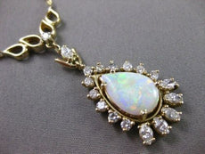 ANTIQUE LARGE 3.0CT OPAL & DIAMOND 14KT YELLOW GOLD NECKLACE ONE OF A KIND 22039