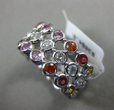 ESTATE 2.98CT DIAMOND & MULTI SAPPHIRE 14KT WHITE GOLD ETERNITY ANNIVERSARY RING
