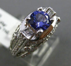 ESTATE WIDE 2.01CT DIAMOND & TANZANITE 18KT WHITE GOLD 3D ETOILE ENGAGEMENT RING