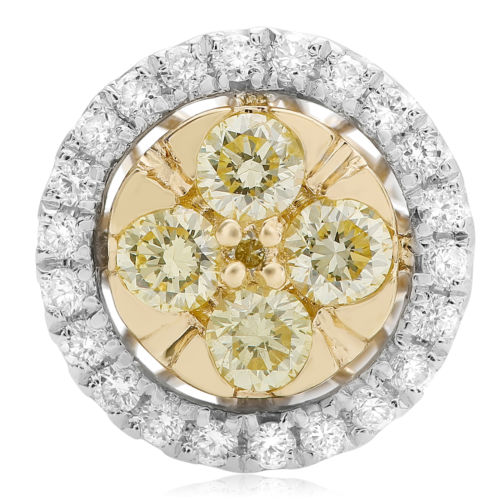 .58CT WHITE & FANCY YELLOW DIAMOND 14KT 2 TONE GOLD ROUND CLUSTER STUD EARRINGS