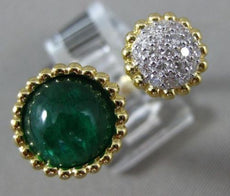 ESTATE 4.36CT DIAMOND & CABOCHON EMERALD 14K YELLOW GOLD 3D CLUSTER TENSION RING