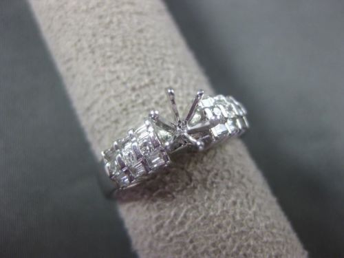 .46CT PRINCESS & BAGUETTE DIAMOND 14KT WHITE GOLD 3D SEMI MOUNT ENGAGEMENT RING