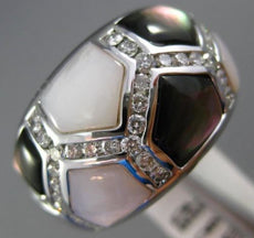 ESTATE WHITE .84CT DIAMOND 14KT WHITE GOLD 3D MOTHER OF PEARL PENTAGON FUN RING