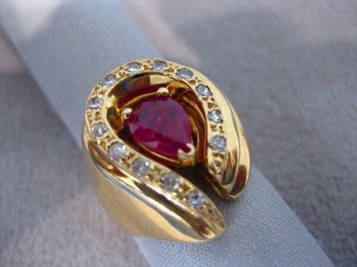 LARGE ANTIQUE 1.37CT RUBY DIAMOND 14K YELLOW GOLD HORSESHOE COCKTAIL RING #17349