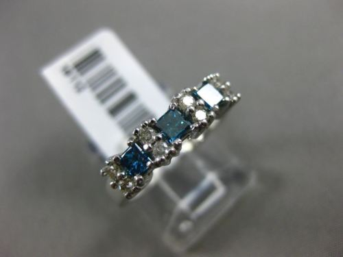 .56CT ROUND & PRINCESS WHITE & BLUE DIAMOND 14KT WHITE GOLD 3D ANNIVERSARY RING