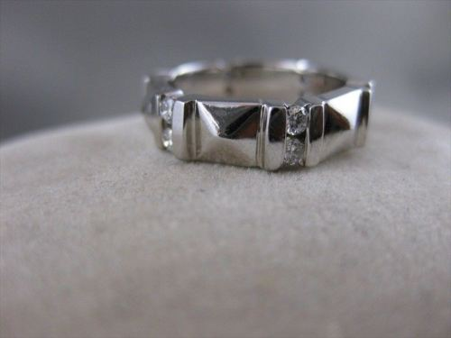 ANTIQUE 1.10CTW DIAMOND 18KT WHITE GOLD RAISED WEDDING ETERNITY RING 8MM #14575