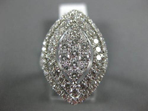 ESTATE EXTRA LARGE 2.34CT DIAMOND 18K WHITE GOLD MARQUISE SHAPE DOUBLE HALO RING