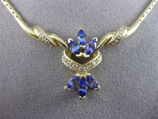 ESTATE LARGE 1.50CT DIAMOND & TANZANITE 14KT YELLOW GOLD ITALIAN NECKLACE #22692