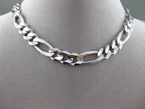 ESTATE WIDE & LONG 14K WHITE GOLD SOLID ITALIAN FIGARO MENS NECKLACE CHAIN 15676