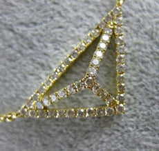 ESTATE .68CT DIAMOND 18KT YELLOW GOLD 3D TRIANGULAR PYRAMID FLOATING NECKLACE