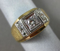 ANTIQUE .52CT ROUND OLD MINE DIAMOND 14K TWO TONE GOLD 3D SQUARE MENS GYPSY RING