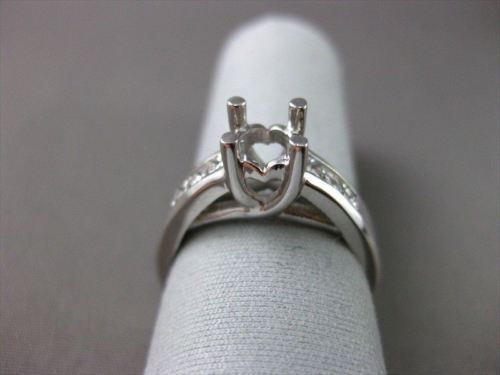 ESTATE WIDE .60CT DIAMOND 14K WHITE GOLD SEMI MOUNT LUCIDA ENGAGEMENT RING #2418