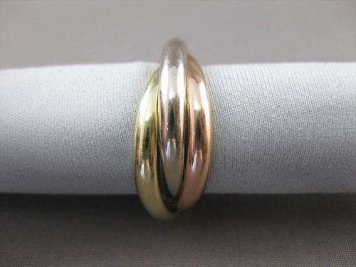 ESTATE 14KT TRI COLOR GOLD CLASSIC TRINITY WEDDING ANNIVERSARY RING 9mm #23559
