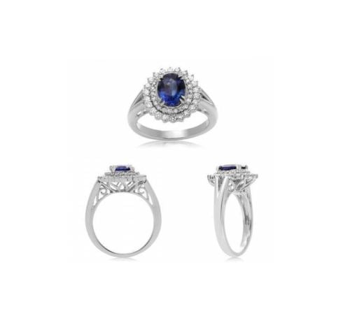 GIA CERTIFIED 3.49CT DIAMOND & AAA SAPPHIRE 18KT WHITE GOLD HALO ENGAGEMENT RING