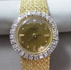 ANTIQUE 1.0CT OLD MINE DIAMOND 14KT WHITE & YELLOW GOLD GENEVA WATCH #19535