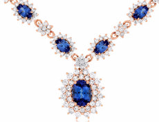 LARGE 5.25CT DIAMOND & AAA TANZANITE 14KT ROSE GOLD FLOWER DOUBLE HALO NECKLACE