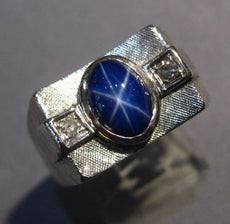 ESTATE WIDE .96CT DIAMOND & BLUE STAR SAPPHIRE 14KT WHITE GOLD GYPSY RING #25270