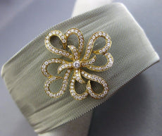 ESTATE WIDE .62CT DIAMOND 18K GOLD & STAINLESS STEEL FLOWER MESH BANGLE BRACELET