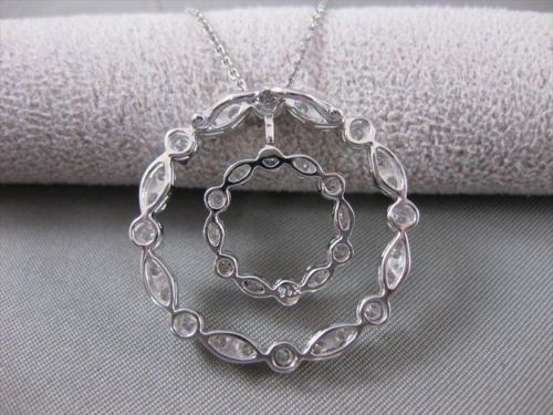 ANTIQUE LARGE 1.10CTW DIAMOND 14K WHITE GOLD FILIGREE CIRCLE PENDANT #20417