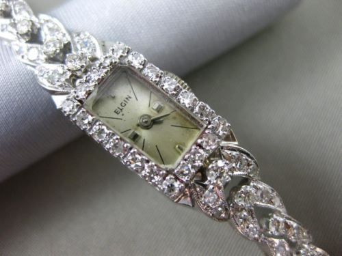 ANTIQUE 2.0CT OLD MINE DIAMOND 14KT WHITE GOLD 3D ELGIN MECHANICAL WATCH #2633