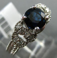 ESTATE .78CT DIAMOND & AAA SAPPHIRE 14K WHITE GOLD OPEN FILIGREE ENGAGEMENT RING