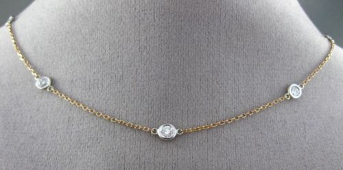 "ESTATE 1.10CT DIAMOND 14KT WHITE & ROSE GOLD BY THE YARD NECKLACE 18"" LONG 21743"