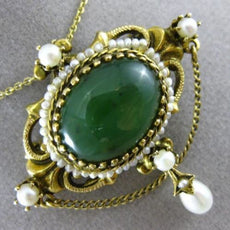 ANTIQUE LARGE PEARL & JADE 14KT YELLOW GOLD 3D VICTORIAN PENDANT BROOCH #25120