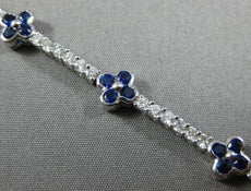 ESTATE WIDE 4.17CT DIAMOND & SAPPHIRE 18KT WHITE GOLD 3D FLOWER TENNIS BRACELET