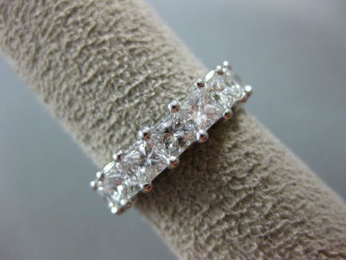 LARGE 5.06CT PRINCESS DIAMOND 14KT WHITE GOLD ETERNITY WEDDING ANNIVERSARY RING
