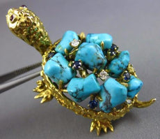 ESTATE WIDE 45.4CT DIAMOND & AQUAMARINE 14K YELLOW GOLD HAPPY TURTLE PIN BROOCH