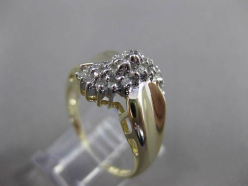 ESTATE .20CT DIAMOND 14KT WHITE & YELLOW GOLD SWIRL COCKTAIL FUN RING #23742