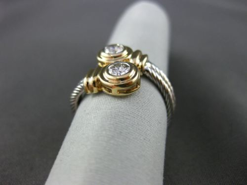 ESTATE WIDE .30CT DIAMOND 14KT WHITE & YELLOW GOLD DOUBLE TWIST GOLD RING #20744
