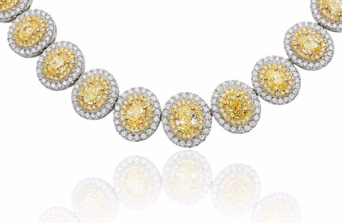 LARGE 21.84CT WHITE & FANCY YELLOW DIAMOND 18KT 2 TONE GOLD 3D ETERNITY NECKLACE