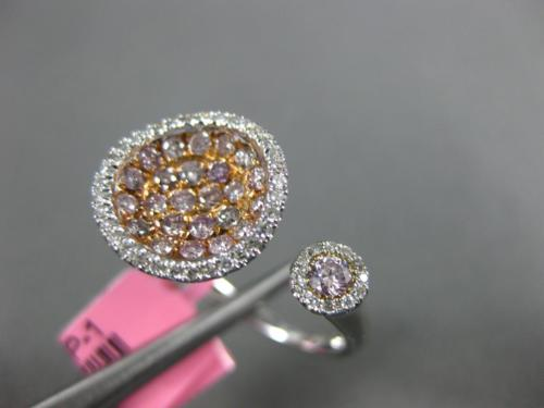 WIDE .73CT WHITE & PINK DIAMOND 18K WHITE & ROSE GOLD 3D ROUND CLUSTER FUN RING