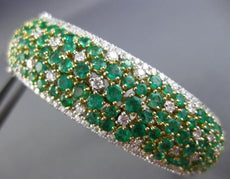 WIDE 10.90CT DIAMOND & COLOMBIAN EMERALD 18K 2 TONE GOLD CLUSTER BANGLE BRACELET