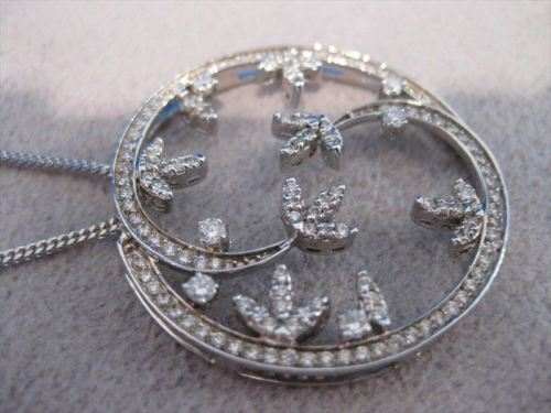 LARGE ANTIQUE DIAMOND 14KT WHITE GOLD FLOWER MEDAL PENDANT + CHAIN #18538