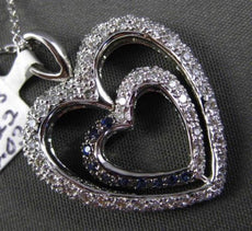ESTATE LARGE 1.25CT DIAMOND & AAA SAPPHIRE 18K WHITE GOLD HEART FLOATING PENDANT