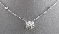 ANTIQUE .95CT DIAMOND 14KT WHITE GOLD FLOWER CLUSTER BY THE YARD NECKLACE #2902