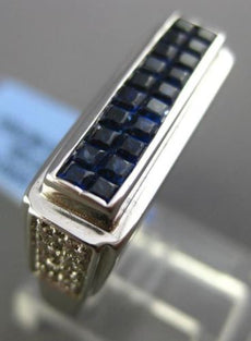 ESTATE 1.73CT DIAMOND & SAPPHIRE 18KT WHITE GOLD RECTANGULAR INVISIBLE MENS RING