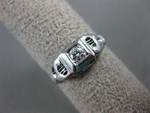 ANTIQUE .10CT OLD MINE DIAMOND 14KT WHITE GOLD 3D FILIGREE ENGAGEMENT RING #1571