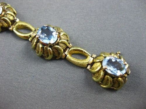 ANTIQUE WIDE 18KT YELLOW GOLD AAA AQUAMARINE FLORAL TENNIS BRACELET AMAZING #493