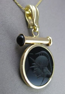 ESTATE LARGE 14KT YELLOW INTAGLIO BLACK ONYX EGYPTIAN ETERNITY PENDANT #33322