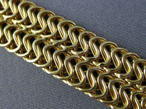 "ESTATE WIDE & LONG 18KT YELLOW GOLD 2 ROW ITALIAN BRACELET 11mm 7"" INCHES #25572"