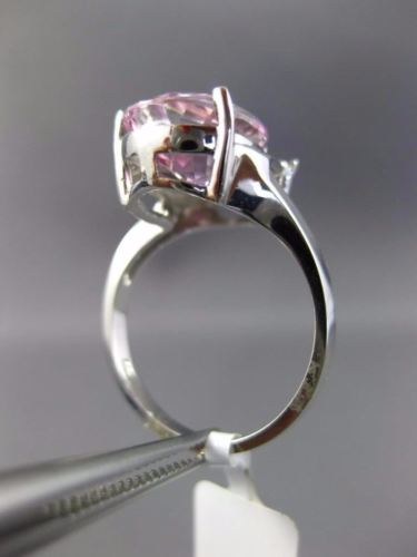 LARGE 4.52CT DIAMOND & AAA PEAR SHAPE PINK TOPAZ 14KT WHITE GOLD TEAR DROP RING