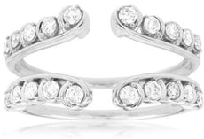 ESTATE WIDE .50CT ROUND DIAMOND 14KT WHITE GOLD 3D CLASSIC OPEN INSERT FUN RING