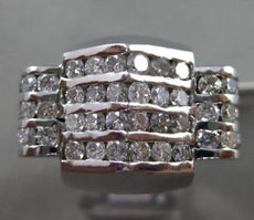 ESTATE MASSIVE 3.50CT DIAMOND 14KT WHITE GOLD 3D MULTI ROW PYRAMID MENS RING