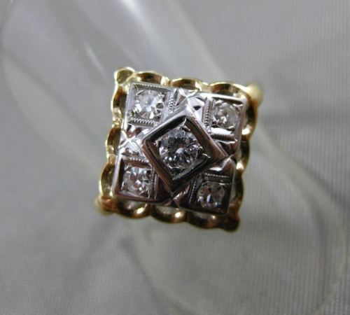 ANTIQUE .18CT OLD MINE DIAMOND 14KT 2 TONE GOLD 3D 5 STONE FILIGREE RING #19362