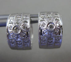 ESTATE WIDE .28CT DIAMOND 14KT WHITE GOLD 3D 3 ROW FLORAL FLOWER HUGGIE EARRINGS
